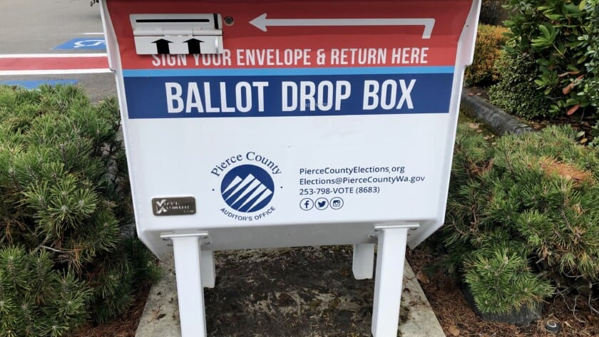 Picture of a ballot drop box at the Gig Harbor fire station